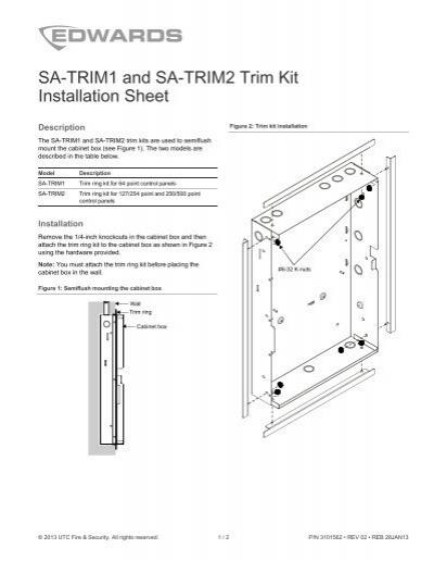 SA-TRIM1 and SA-TRIM2 Trim Kit Installation Sheet