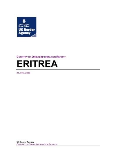 Eritrea Ecoi Net European Country Of Origin Information Network