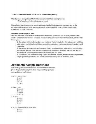 Arithmetic Sample Questions - Algonquin College