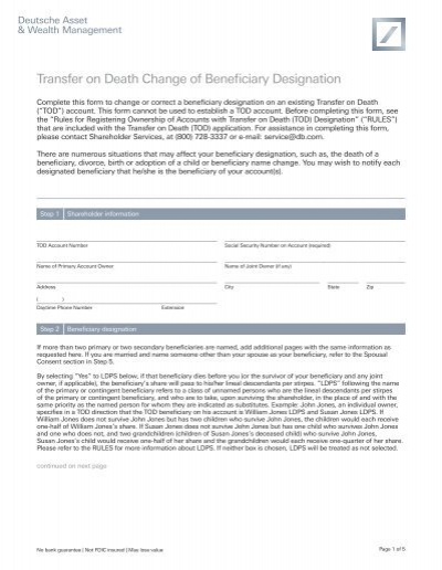 Transfer On Death Change Of Beneficiary Dws Investments