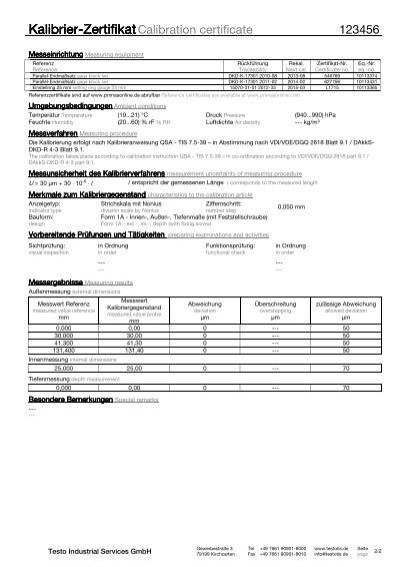 Kalibrier-Zertifikat Mess