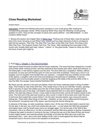 Close Reading Worksheet Edsitement