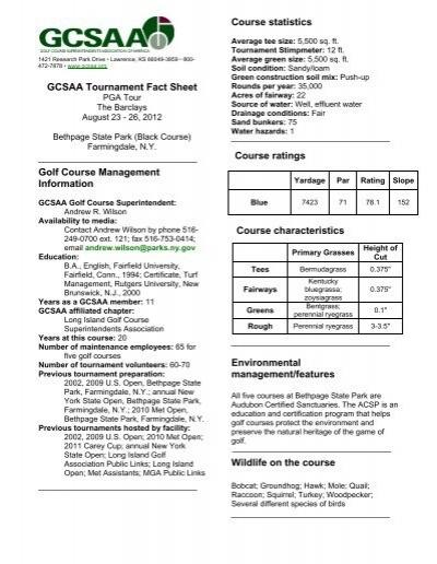 GCSAA Tournament Fact Sheet Golf Course     - PGA TOUR Media