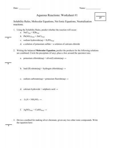 aqueous reactions worksheet 1 wc miller collegiate. Black Bedroom Furniture Sets. Home Design Ideas