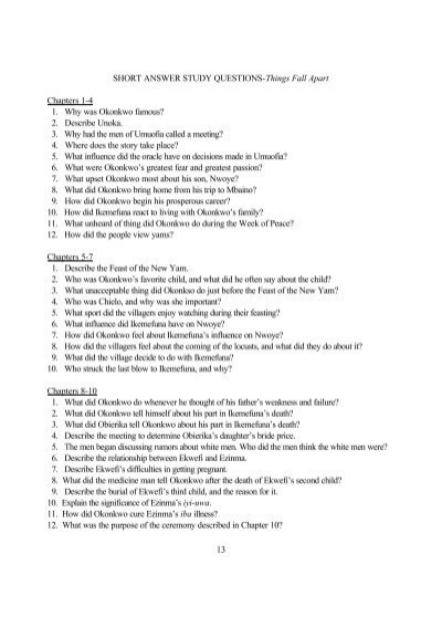 Short answer study questions things fall apart