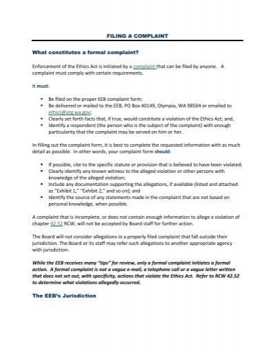 Filing a Complaint - Washington State Executive Ethics Board