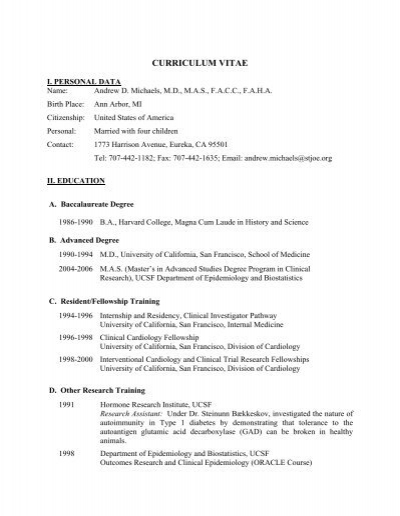 Dr  Michael's CV - Humboldt Medical Specialists