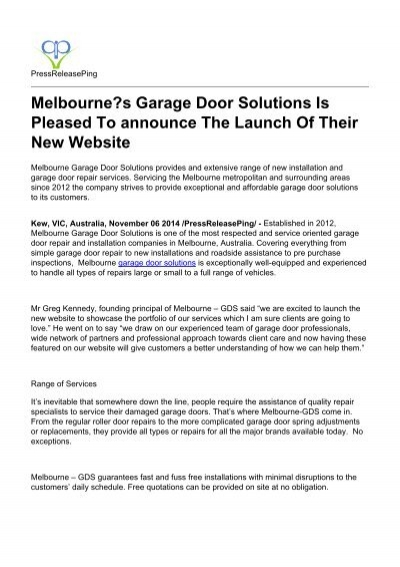 Melbournes Garage Door Solutions Is Pleased To Announce The Launch