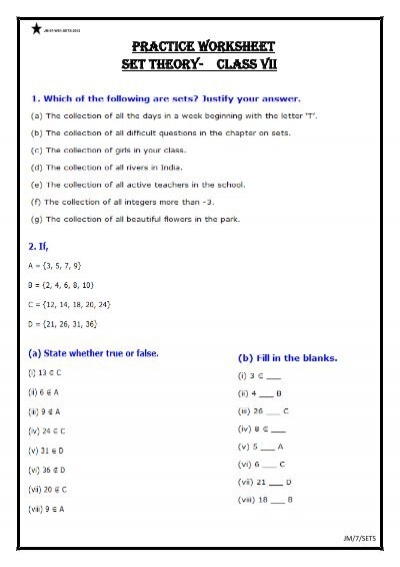 math worksheet : set theory math worksheets  educational math activities : Math Sets And Subsets Worksheets