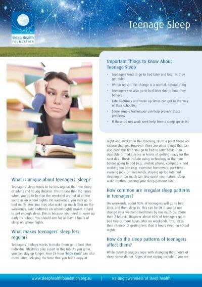 Teenage Sleep Sleep Health Foundation Interesting Teenage Sleep Patterns