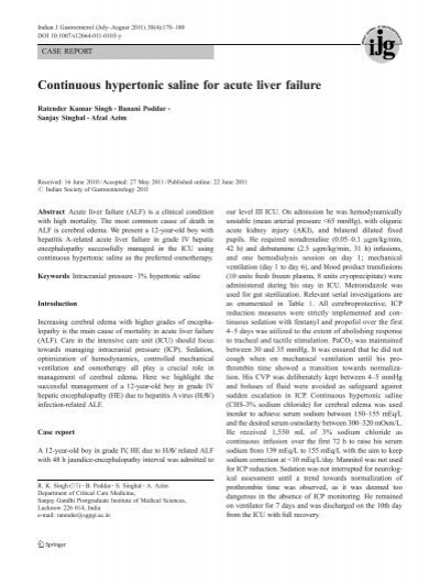 Continuous Hypertonic Saline For Acute Liver Failure Indian Journal