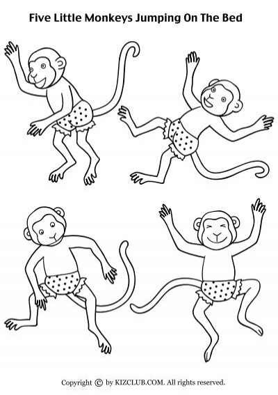 Five little monkeys jumping on the bed coloring sheet for Five little monkeys jumping on the bed coloring pages