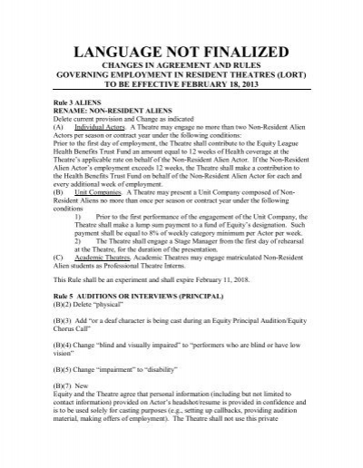 Lort Summary Of Changes In Agreement Rules 2013 2017 Actors