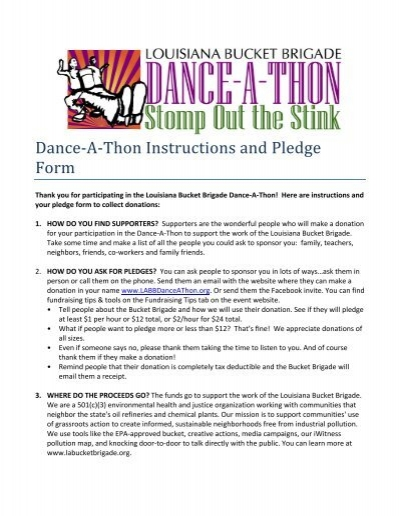 Dance a thon instructions and pledge form pronofoot35fo Images