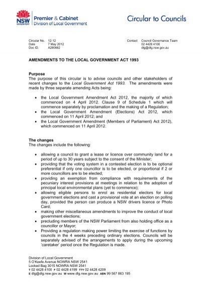 Amendments To The Local Government Act 1993 - Division of Local