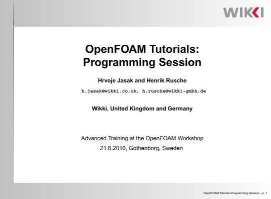OpenFOAM Tutorials: Programming Session