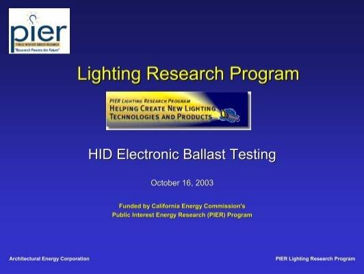 Pier Lighting Research Program Lbnl