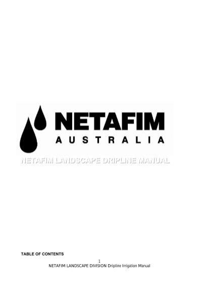 Netafim Landscape Drip Irrigation Manual Pdf 0 22mb Wet Earth