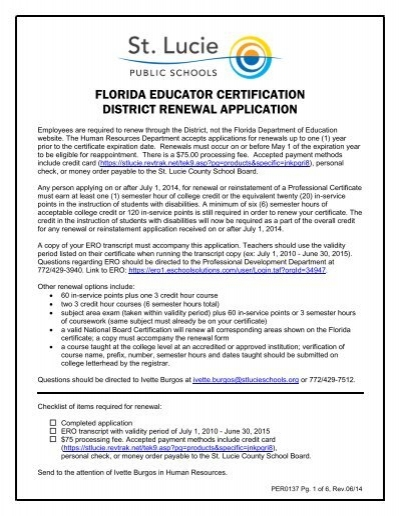 Professional Certification Renewal Form - St. Lucie County School ...