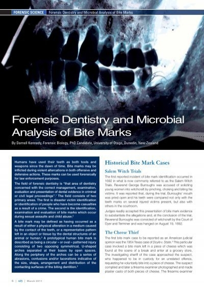 Forensic Dentistry And Microbial Analysis Of Bite Marks Pdf 398kb