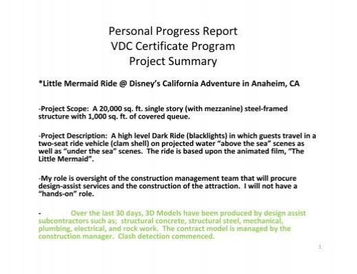 Personal Progress Report VDC Certificate Program Project Summary