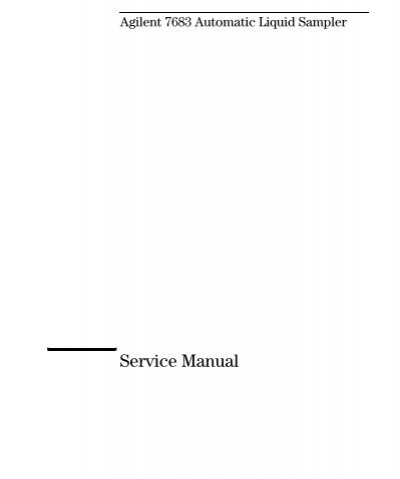 agilent 7683 automatic liquid sampler service manual table of rh yumpu com Owner's Manual Maintenance Manual