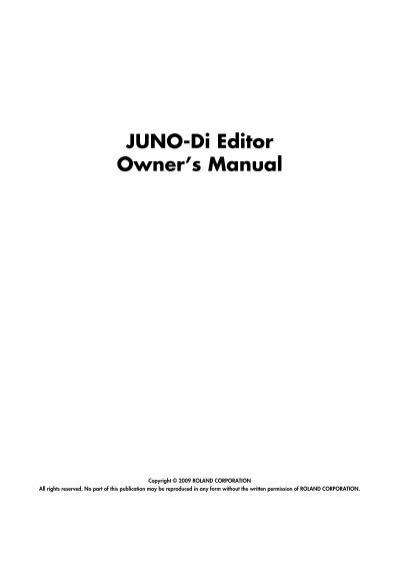 JUNO-Di Editor Owner\u0027s Manual - Roland