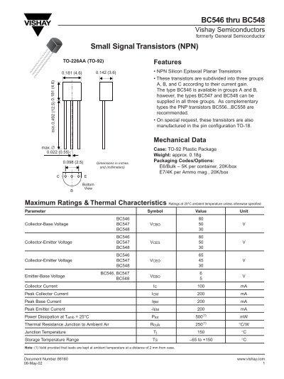 Small Signal Transistors (NPN) - Datasheet Catalog