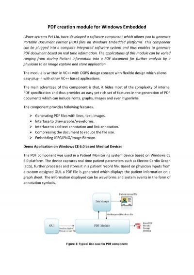 Pdf Creation Module For Windows Embedded Iwave Systems