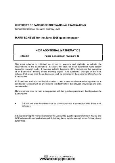 Additional Mathematics-MS-P2-M J-05 pdf - Ourpgs com