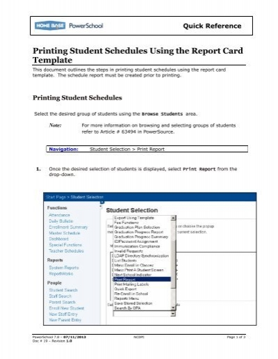 printing student schedules using the report card nc wise