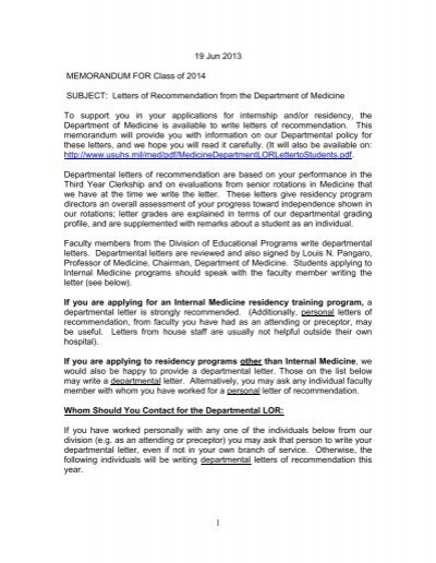 Letters Of Recommendation From The Department Of Medicine To