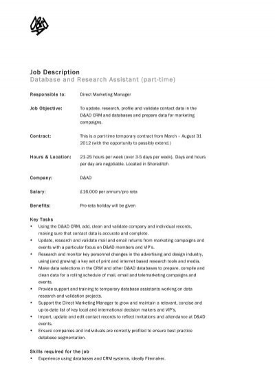 Job Description Research Assistant Position Hours PartTime
