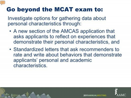 mcat essays amcas Association of american medical colleges 2018 amcas ® applicant guide significant research experience essay 54 standardized tests 55 mcat scores 55.