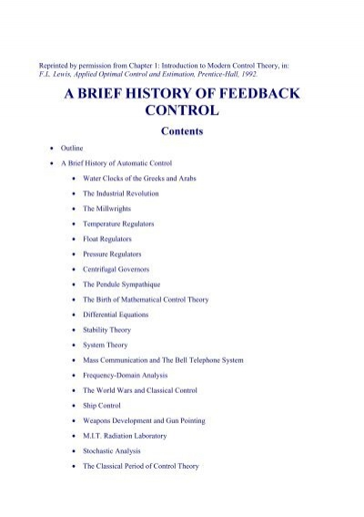 A brief history of feedback control - Chapter 1