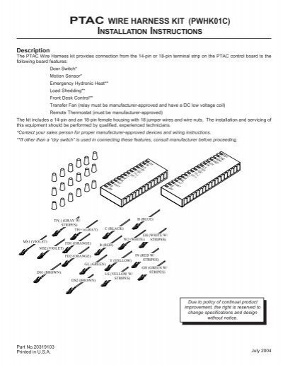 Ptac Wire Harness Kit  Pwhk01c  Installation Instructions