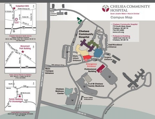 u of d mercy campus map Cch Campus Map Chelsea Community Hospital