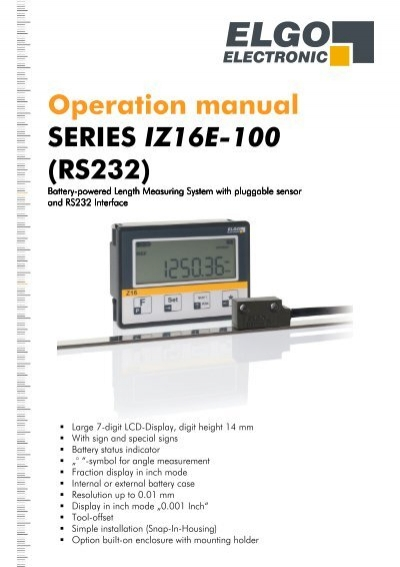 Operation manual SERIES IZ16E 100 (RS232) ELGO Electric GmbH