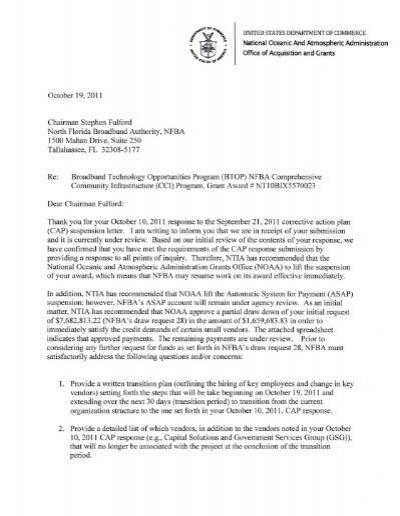 Amendment 5 Letter Lifting Suspension Broadband