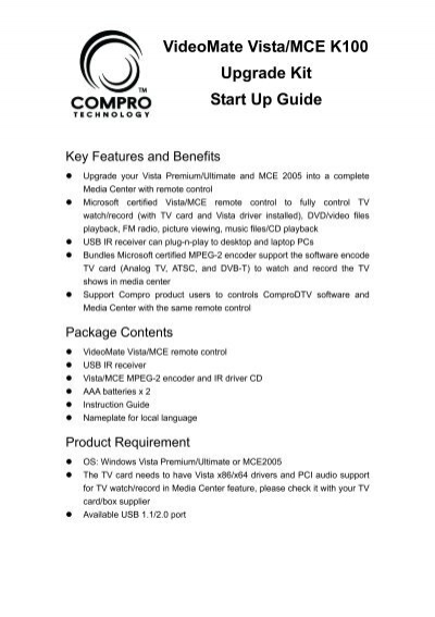 VideoMate Vista MCE K100 Upgrade Kit Start Up Guide