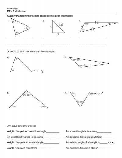 Geometry DAY 3 Worksheet Classify the following triangles based .