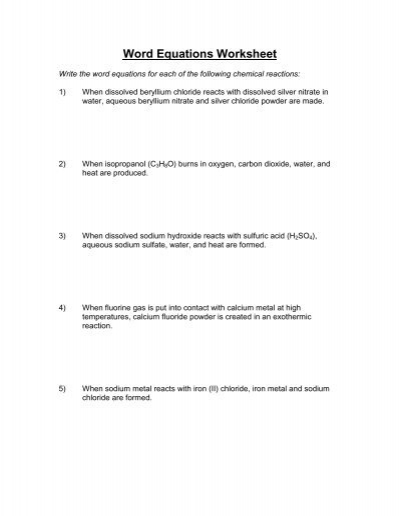 Word Equations Worksheet - Solutions