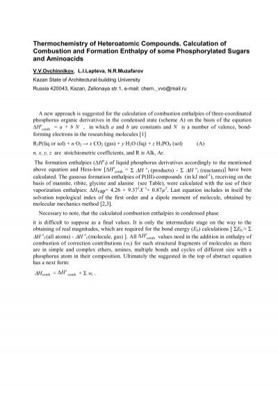 Thermochemistry Of Heteroatomic Compounds Calculation Of