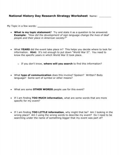 National History Day Research Strategy Worksheet