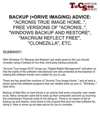 Acronis how to restore