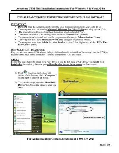 Installation Instructions for Windows Vista, 7 32-bit (PDF