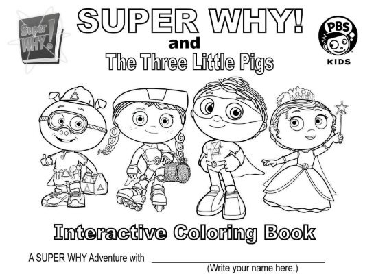 Super Why and the Three Little Pigs Interactive Coloring Book