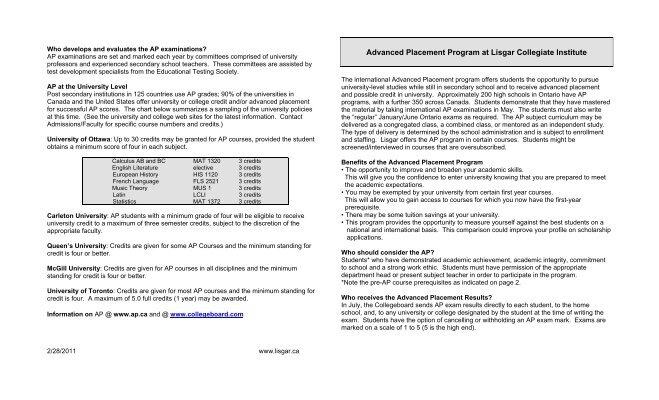 Advanced Placement Program at Lisgar Collegiate Institute