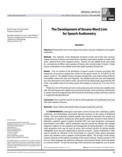 The Development of Ilocano Word Lists for Speech     - PSO-HNS