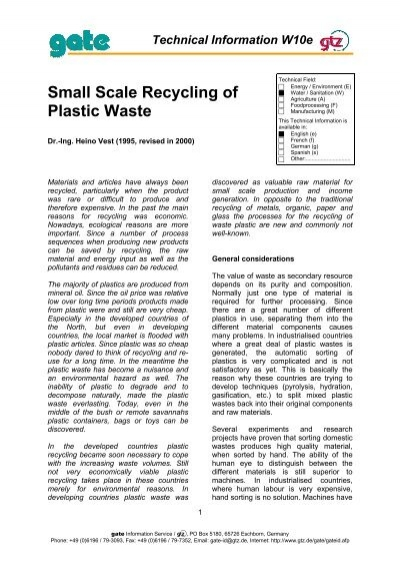 Small Scale Recycling of Plastic Waste - GATE International